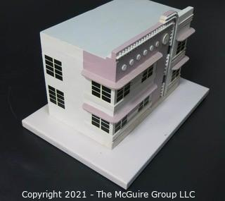 """Wooden Hand Crafted Architectural Rendering of """"The Crescent"""" Art Deco Hotel designed by Henry Hohauser in 1932, South Beach Miami, Florida <br> <br>  {Featured on back cover of book in Lot 70A}"""