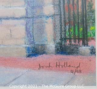 """Framed Under Glass Pastel on Paper Drawing of the George Washington University """"Professor's Gate"""".  The Gate is a main gathering place on campus near Kogan Plaza. Measures approximately 17"""" x 15"""" in frame."""