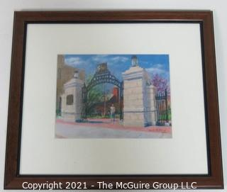 "Framed Under Glass Pastel on Paper Drawing of the George Washington University ""Professor's Gate"".  The Gate is a main gathering place on campus near Kogan Plaza. Measures approximately 17"" x 15"" in frame."