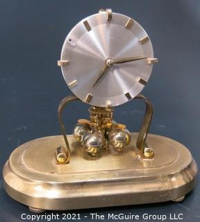 Brass with Glass Dome Perpetual Motion Clock Marked KS