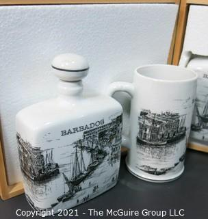"""New Old Stock Boxed Set of """"Barbados"""" Rum Decanter & Mugs.  Originally Presented as Trophy to Olympic Team from Barbadoes."""