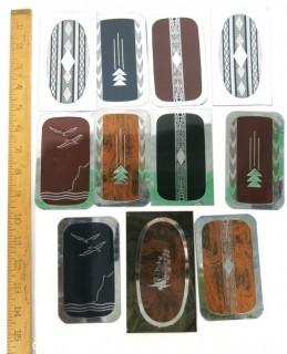 Group of Vintage Art Deco Chrome with Enamel Decoration Men's Hair Brush Covers or Panels.