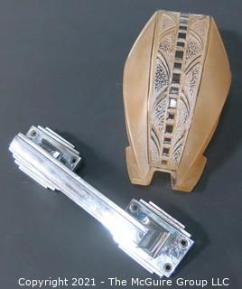 Heavy Chrome Door Pull & Pressed Glass Deco Sconce Fixture Shade.