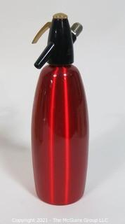 Vintage Red Brushed Aluminum ISI Austria Classic Soda Siphon Bar Seltzer Bottle.