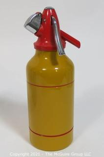 Vintage Art Deco Solex, Made in Israel, Yellow with Red Top and Stripes Soda Siphon.