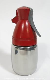 """Atomic"" Art Deco Chrome Soda Siphon with Red Top"