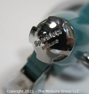 Vintage Art Deco Sparklet Chrome with Teal Blue Stripes and Top Soda Siphon