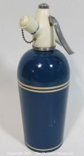 Vintage Art Deco Sparklet Blue Soda Siphon with White Stripes