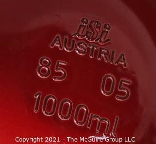 Vintage ISI Austria Red Brushed Aluminum Soda Siphon