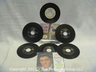 Vinyl Record: 45rpm: Various (7) 60's pop/rock  Elvis (promo) (sleeves)
