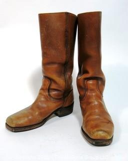 Vintage Men's Brown Leather Frye Boots, Size 8 1/2,