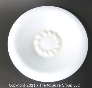 """Hand Blown White Charger Bowl.  Measures approximately 20"""" in diameter. (Kennedy Half Dollar is placed for size perspective)"""