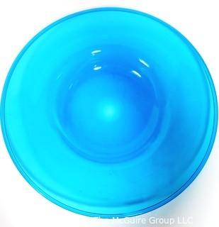 "Aqua Blue Hand Blown Glass Charger Plate Made by Sinclair.  Measures approximately 16"" in diameter."