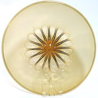 """Hand Blown Amber Glass Shallow Bowl Made in Venice Circa 1910.  Measures approximately 16"""" in diameter."""
