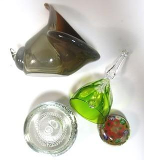 Group of Hand Blown Glass Items Including Paperweights, Bell & Art Glass.
