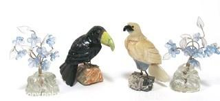 Set of Four Decorative Items Made of Stones and Minerals.  Includes Two Hand Carved Stone Birds Figures and Two Place Card Holders Made of Czech Glass.