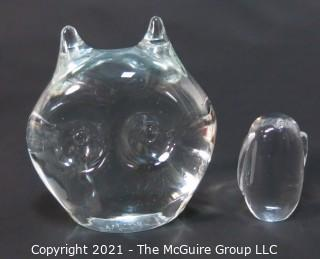 Two Clear Crystal Glass Paperweights in the Shape of an Owl and Penguin.  One signed by artist and marked Murano art glass
