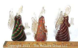 "Set of Three Hand Blown Bucella Christalli Murano Glass Angels Made in Italy.  They measure approximately 4"" tall each."