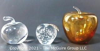 Group of Three Crystal Glass Apple Paperweights or Decorative Items. One signed by artist.