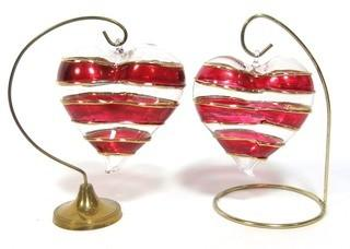"""Two Large Hand Blown Clear with Red and Gold Overlay Venetian Glass Puffy Hearts with Stand.  Each measure approximately 4"""" wide."""