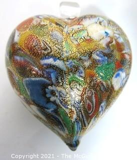 """Large Hand Blown Murano Venetian Gold Glass Lampwork Heart on Stand.  Measures approximately 3"""" wide."""