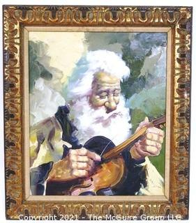 "Gilt Framed Original Oil on Canvas of Man Stringing Violin. Artist name illegible. Outside dimensions 26 x 31""."