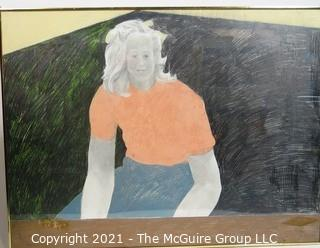 """Framed Under Plexiglass Original Pastel on Paper of Young Woman Signed by Artist Susan Middleman. Measures approximately 38"""" x 30"""". She was exhibited at the Franz Bader Gallery in Washington DC."""