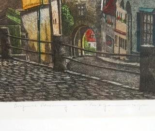 "Framed Original Colored Etching titles ""Plonlein"" by Ernst Geissendorfer; circa 1965"