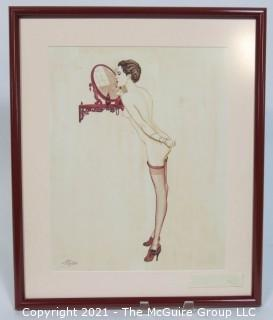 """Original Art Deco Framed Under Glass Watercolor on Board of Vargas-Style Nude with Artists Signature.  Measures approximately 16"""" x 19"""". Conservation Framed."""