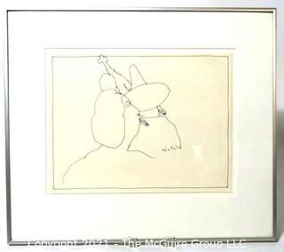 "Framed Under Glass Original Pen & Ink Drawing Signed By Artist Futzie Nutzle (Bruce Kleinsmith).  Measures approximately 20"" x 18""."