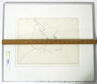 """Framed Under Glass Original Pen & Ink Drawing Signed By Artist Futzie Nutzle (Bruce Kleinsmith).  Measures approximately 20"""" x 18""""."""