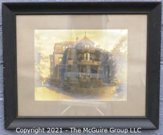 "Large Framed Under Glass Sepia Tone Gelatin Silver Print Photograph of Victorian House.  Measures approximately 33"" x 27"".  Image size is 16"" x 20"""