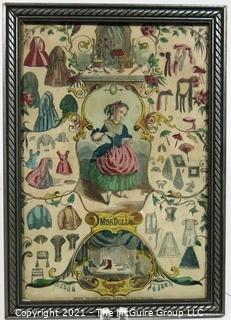 """Framed vintage Victorian lithograph """"Miss Doll and Her Wardrobe""""  ~7""""x 10"""""""