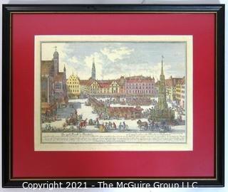 Vintage colored lithograph - Nuremberg Germany (framed)