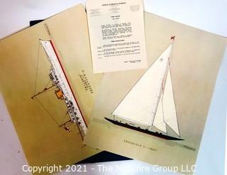 Art: Frank Cervier nautical prints unframed in folio folder