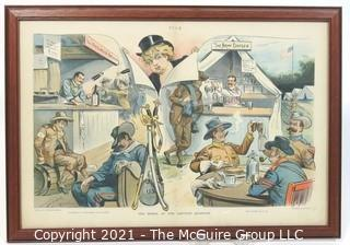 "Vintage Framed Under Glass PUCK cartoon.  Measures approximately 22"" x 16""."