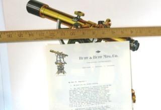 Poster of Bull & Bull Theodolite and letter on letterhead