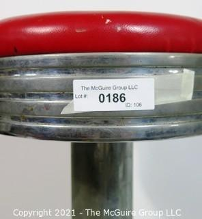 Vintage Chrome and Red Vinyl Soda Counter Bar Stool.