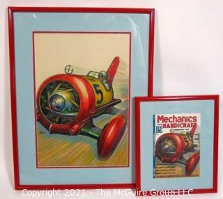 """Original """"Mock Up"""" Magazine Cover Art by Joseph Pignone for the May 1936 Edition of Mechanics and Handicraft.  This is paired with the actual framed magazine cover for which it was created. Original oil painting signed by artist and framed under glass, measures approximately 20 x 26"""".  The magazine cover is framed under glass and measures approximately 12 x 14 1/2"""". <br> <br> Mechanics and Handicraft was a 1930's popular-science and make-it-yourself magazine, with designs of the future, it was absorbed into Popular Science Monthly with the March, 1939 issue.  Joseph Pignone was a designer, engineer, painter, illustrator and inventor. See profile about the artist in the photo gallery.  <br> <br>"""
