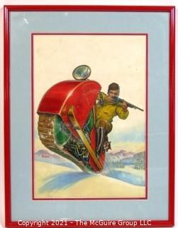 """Original """"Mock Up"""" Magazine Cover Art by Joseph Pignone for the February 1936 Edition of Mechanics and Handicraft.  This is paired with the actual framed magazine cover for which it was created. Original oil painting signed by artist and framed under glass, measures approximately 20 x 26"""".  The magazine cover is framed under glass and measures approximately 12 x 14 1/2"""". <br> <br> Mechanics and Handicraft was a 1930's popular-science and make-it-yourself magazine, with designs of the future, it was absorbed into Popular Science Monthly with the March, 1939 issue.  Joseph Pignone was a designer, engineer, painter, illustrator and inventor. See profile about the artist in the photo gallery.  <br> <br>  {Note: The snowmobile was invented years after this rendering}"""