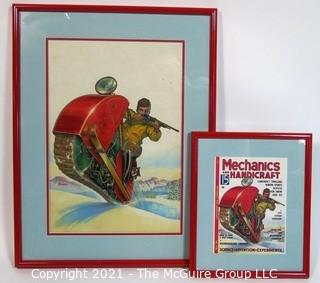 "Original ""Mock Up"" Magazine Cover Art by Joseph Pignone for the February 1936 Edition of Mechanics and Handicraft.  This is paired with the actual framed magazine cover for which it was created. Original oil painting signed by artist and framed under glass, measures approximately 20 x 26"".  The magazine cover is framed under glass and measures approximately 12 x 14 1/2"". <br> <br> Mechanics and Handicraft was a 1930's popular-science and make-it-yourself magazine, with designs of the future, it was absorbed into Popular Science Monthly with the March, 1939 issue.  Joseph Pignone was a designer, engineer, painter, illustrator and inventor. See profile about the artist in the photo gallery.  <br> <br>  {Note: The snowmobile was invented years after this rendering}"
