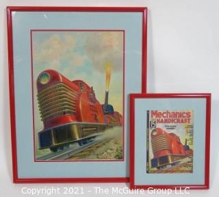 """Original """"Mock Up"""" Magazine Cover Art by Joseph Pignone for the June 1936 Edition of Mechanics and Handicraft.  This is paired with the actual framed magazine cover for which it was created. Original oil painting signed by artist and framed under glass, measures approximately 20 x 26"""".  The magazine cover is framed under glass and measures approximately 12 x 14 1/2"""". <br> <br> Mechanics and Handicraft was a 1930's popular-science and make-it-yourself magazine, with designs of the future, it was absorbed into Popular Science Monthly with the March, 1939 issue.  Joseph Pignone was a designer, engineer, painter, illustrator and inventor. See profile about the artist in the photo gallery."""
