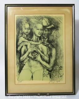 "Phillip Evergood Signed and Numbered Lithograph Entitled ""Couple with Child"", 1965. Some discoloration to top of matting.  Does not affect artwork. Measures approximately 22"" x 16""."