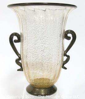 "Hand Blown Venetian Glass Vase With Applied Ribbon Handles. Measures approximately 9"" tall."