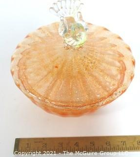 "Hand Blown Venetian Apricot & Gold Glass Pedestal Bowl with Lid and Applied Bird, Measures approximately 7"" tall."