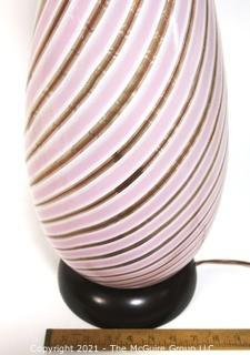 Tall Pink Gold & White Hand Blown Murano Mid Century Modern Swirl Table Lamp.  Measures approximately