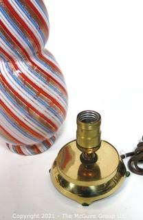 """Tall Red Blue Gold & White Hand Blown Murano Mid Century Modern Swirl Table Lamp.  Measures approximately 12"""" tall."""
