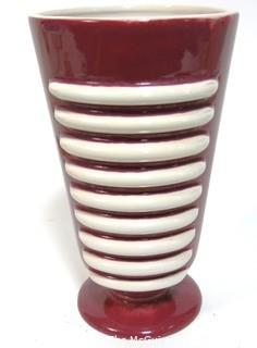 "Vintage Mid Century St, Clement France Pink & White Pottery Vase.  Measures approximately 10"" tall."