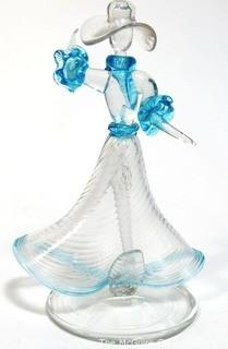 """Hand Blown Venetian Glass Vase Figure of a Dancing Woman.  Measures approximately 8"""" tall."""