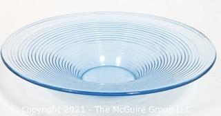 """Ice Blue Moderne Ringed Glass Bowl.  Measures approximately 16"""" in diameter."""